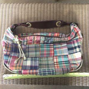 Tommy Hilfiger plaid patch quilt handbag satchel